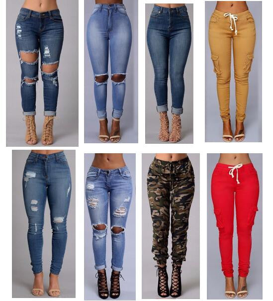 2016 sexy fashion new style women high waist jeans Full Length Ripped jeans Skinny  for women's jeans slim pants -  - Houzz of Threadz - 1
