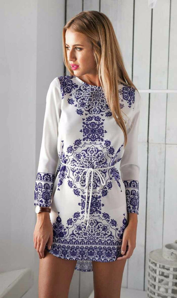 2016 New Summer Women Dress Long Sleeve Print Tunic Ladies Casual Dresses White O-neck Vintage Dress Female Vestidos Plus Size -  - Houzz of Threadz