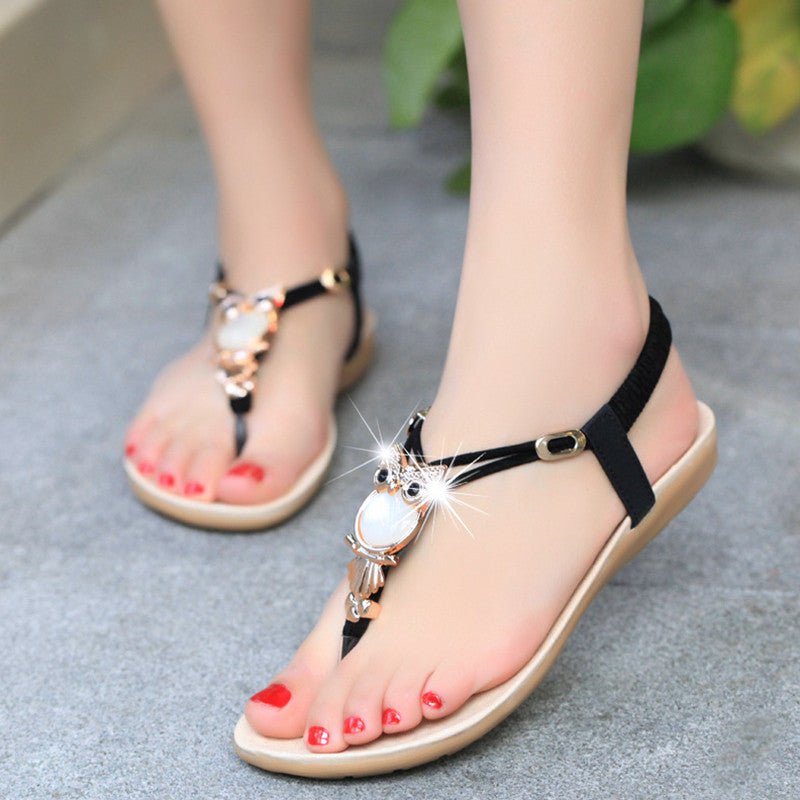 2016 Flat Sandals Women Fashion Summer Shoes Women Rhinestone Sandale Femme Black Women Sandals -  - Houzz of Threadz