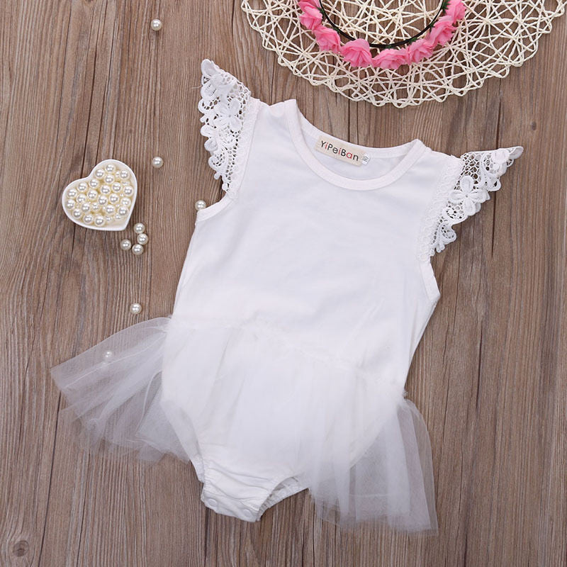 2016 New Cute Baby Girls Clothes Infant Kids Little Angel Bodysuit Lace Mesh Child Be Baby Clothes Bodysuit - White / 4-6 months - Houzz of Threadz - 2