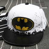 2016 Fashion Kids Cartoon Snapback Caps, Flat Brim child baseball cap, embroidery children spiderman hats, Cute batman hat - leather white - Houzz of Threadz - 2