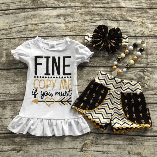 Girls Black and Gold Shorts Outfit  with Matching Necklace and Bow Set -  - Houzz of Threadz - 1