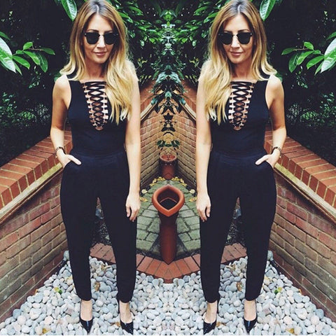2016 NEW Women Sexy Sleeveless Bandage Jumpsuits Slimming Bodycon Casual Summer Rompers -  - Houzz of Threadz