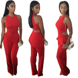 Red Full Length Elegant Long Solid Jumpsuits -  - Houzz of Threadz - 1
