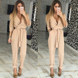 2016 woman fashion summer Jumpsuits of solid color regular casial style full length on hot sale in high quality - as picture 1 / L - Houzz of Threadz - 3