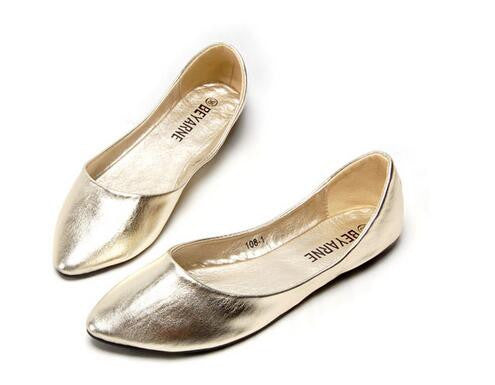 2016 autumn Women's Genuine Leather Flat Shoes Lambskin Metal Leapord Ballet Flats Slip-On Casual Designer Shoes famous brand - Gold / 5 - Houzz of Threadz - 2