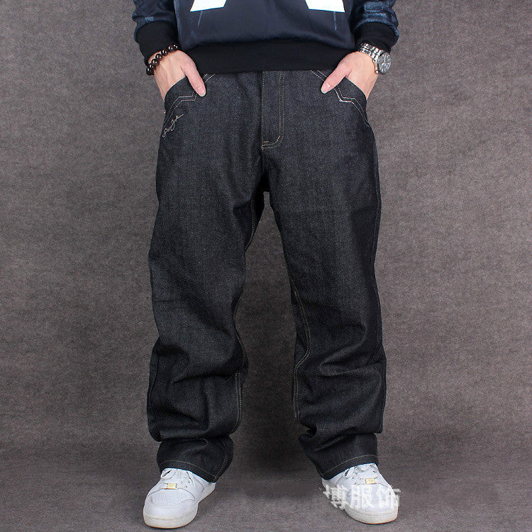 2016 Men Hip Hop Baggy Jeans For Street Dancing & Skateboard Loose Fit High Quality With Embroidery Plus Size 30 To 46 Hot Sale -  - Houzz of Threadz