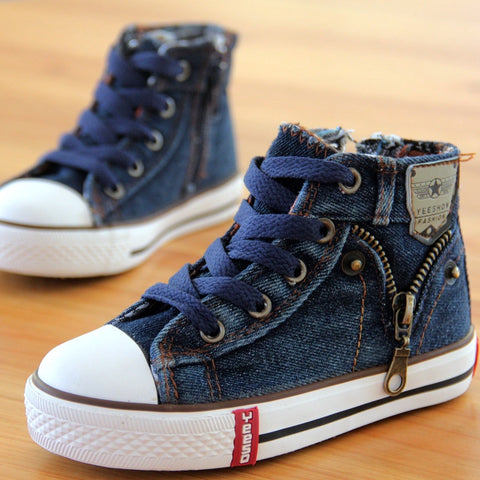Children Denim Side Zipper Shoes -  - Houzz of Threadz - 1