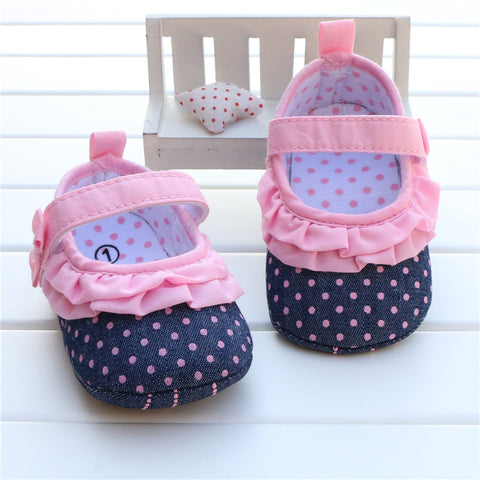 Newborn Baby Girl Shoes Pink Polka Dot  Blue Denim Jeans Star Print Sole Kids Shoes Zapatos Nina Meisjes Schoenen Infant Walker -  - Houzz of Threadz - 1