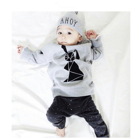 2016 kids boys summer style infant baby boy clothes set baby boy clothing sets cotton little monsters 2pcs baby girl clothes set - blank8 / 0-3 months - Houzz of Threadz - 1