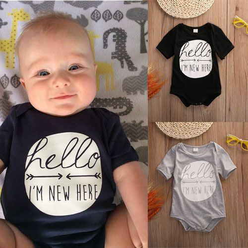 2016 Rompers Baby Newborn Kids Boy Girl Clothing Rompers Infant Cotton Short Love Arrow Romper Jumpsuit Clothes Black Outfit New -  - Houzz of Threadz
