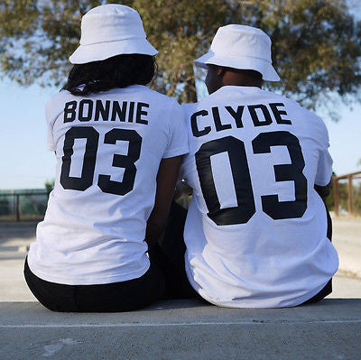 2016 European Street Style BONNIE CLYDE 03 Letter Print T-shirt Summer Male And Female Shirt Graphic Tees Women Men Sport Tops -  - Houzz of Threadz