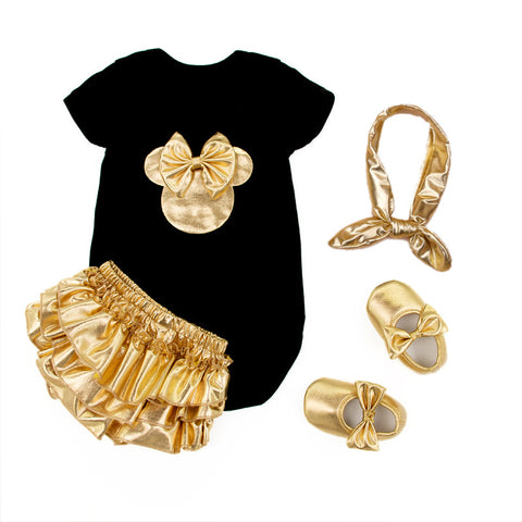 2016 Baby Girl Clothing 4pcs Sets Black Cotton Rompers Golden Ruffle Bloomers Shorts Shoes Headband Infant Newborn Clothes -  - Houzz of Threadz - 1