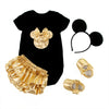 2016 Baby Girl Clothing 4pcs Sets Black Cotton Rompers Golden Ruffle Bloomers Shorts Shoes Headband Infant Newborn Clothes - as shown 1 / 0-3 months - Houzz of Threadz - 2