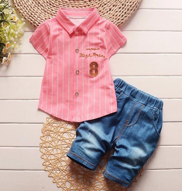 2016 Summer Baby Boys Clothes Sets Lapel Short Sleeve Shirt+Shorts 2 Pcs Kids Suits Children Casual Suits Infant/Newborn Suits - Pink / 7-9 months - Houzz of Threadz - 3