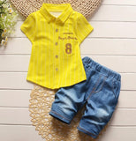 2016 Summer Baby Boys Clothes Sets Lapel Short Sleeve Shirt+Shorts 2 Pcs Kids Suits Children Casual Suits Infant/Newborn Suits - Yellow / 7-9 months - Houzz of Threadz - 2