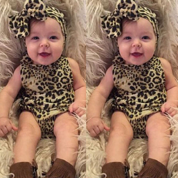 2016 Newborn Kids Baby Girls Infant Clothes 2 Pcs Leopard Strip Romper+Hairband Jumpsuit Clothes Outfit -  - Houzz of Threadz