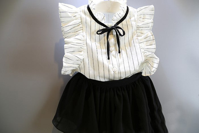 2016 Korean Fashion Summer Infant Child Baby clothes Beautiful Girl Princess T-Shirt + skirt Children Clothes Set - white / 2T - Houzz of Threadz - 2