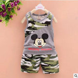 2016 baby boys summer style infant clothes baby clothing sets boy Cotton Camouflage Mickey 2pcs kids - Dark Grey / 4-6 months - Houzz of Threadz - 3