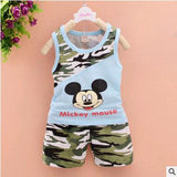 2016 baby boys summer style infant clothes baby clothing sets boy Cotton Camouflage Mickey 2pcs kids - White / 4-6 months - Houzz of Threadz - 2