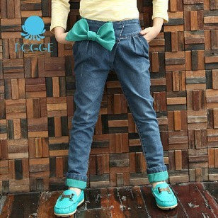 Bowknot Cuffed Jeans -  - Houzz of Threadz - 1