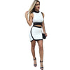 2 Piece Women Sleeveless Crop Top And Skirt Set -  - Houzz of Threadz - 1