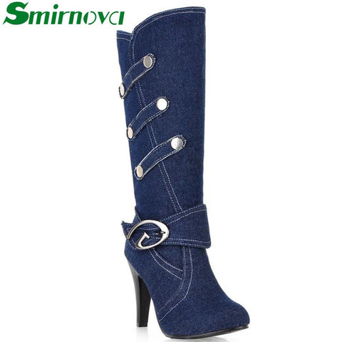 2016 New Fashion Boots Spring Autumn Denim Knee High Boots High Heels Buckle Strap Metal decoration Ladies Shoes