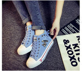 High Upper Platform Canvas Shoes Woman Lace-up Casual & Flat Walking Shoes -  - Houzz of Threadz - 10