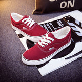 Women Canvas Casual Flat Shoes Low Breathable Solid Color  Candy Colors Leisure Cloth Shoes -  - Houzz of Threadz - 37