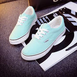 Women Canvas Casual Flat Shoes Low Breathable Solid Color  Candy Colors Leisure Cloth Shoes - Sky Blue / 6 - Houzz of Threadz - 62