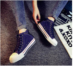 High Upper Platform Canvas Shoes Woman Lace-up Casual & Flat Walking Shoes -  - Houzz of Threadz - 5