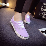 Women Canvas Casual Flat Shoes Low Breathable Solid Color  Candy Colors Leisure Cloth Shoes -  - Houzz of Threadz - 24