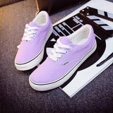 Women Canvas Casual Flat Shoes Low Breathable Solid Color  Candy Colors Leisure Cloth Shoes - Lavender / 6 - Houzz of Threadz - 34