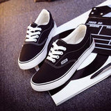 Women Canvas Casual Flat Shoes Low Breathable Solid Color  Candy Colors Leisure Cloth Shoes - black white / 6 - Houzz of Threadz - 55