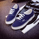 Women Canvas Casual Flat Shoes Low Breathable Solid Color  Candy Colors Leisure Cloth Shoes - Blue / 6 - Houzz of Threadz - 20