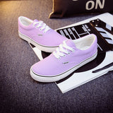 Women Canvas Casual Flat Shoes Low Breathable Solid Color  Candy Colors Leisure Cloth Shoes -  - Houzz of Threadz - 38