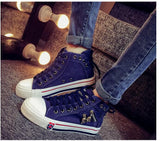High Upper Platform Canvas Shoes Woman Lace-up Casual & Flat Walking Shoes -  - Houzz of Threadz - 7