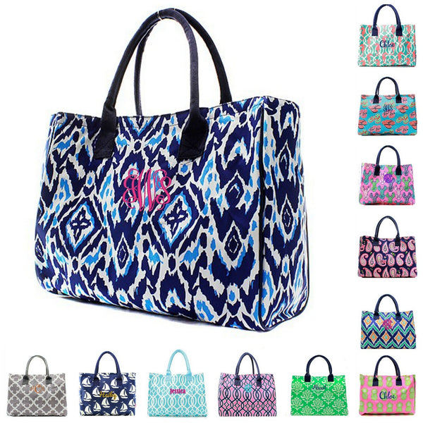 "Personalized 19"" Beach Bag Open Top Utility Tote"