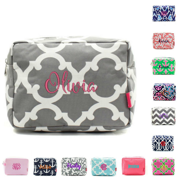 "Personalized 9"" Cosmetic Bag Makeup Case Pouch"