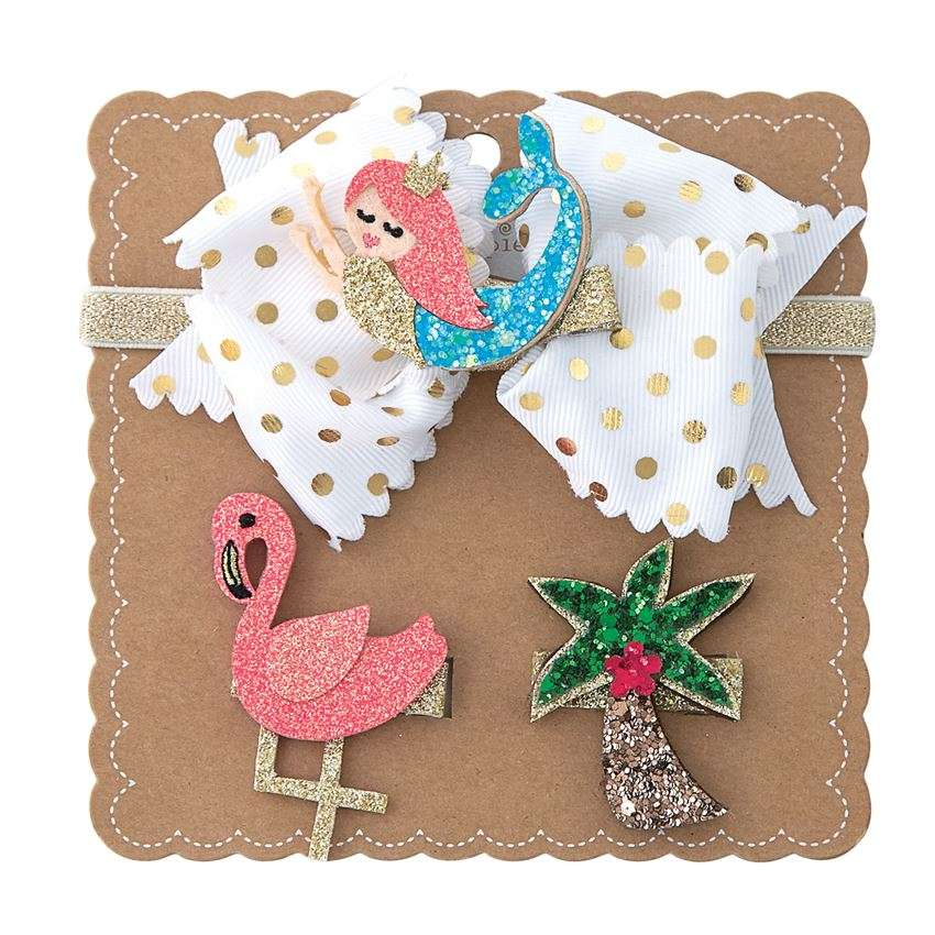 3 in 1 Hairbow Set by Mud Pie - Mermaid, Flamingo & Palm Tree