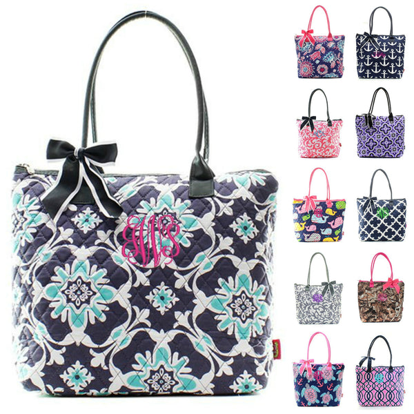"Personalized Monogram 16"" Quilted Tote Bag"