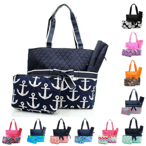 Personalized diaper bags quilted diaper bags giftshappenhere quilted diaper bag baby tote changing pad set negle Image collections