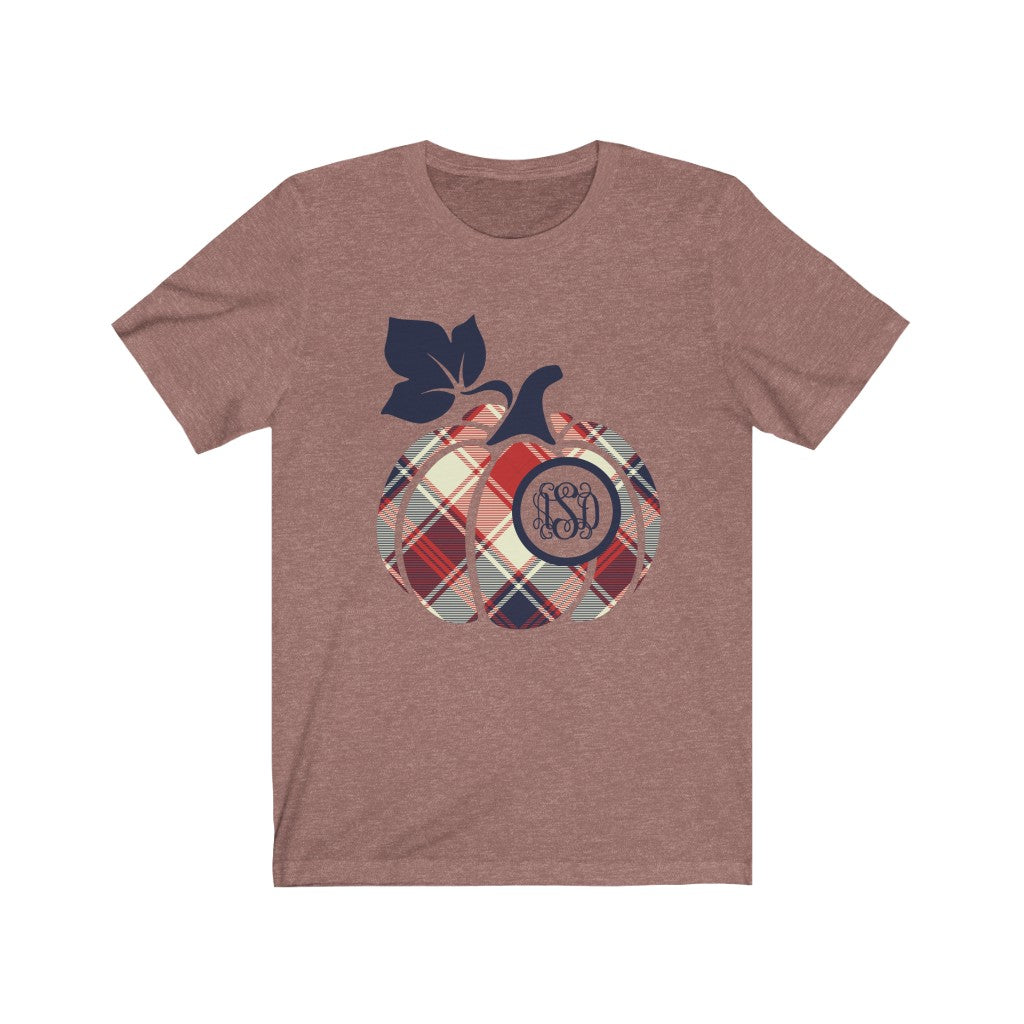 Monogrammed Plaid Americana Pumpkin Fall Halloween T-Shirt - Short Sleeve Tee