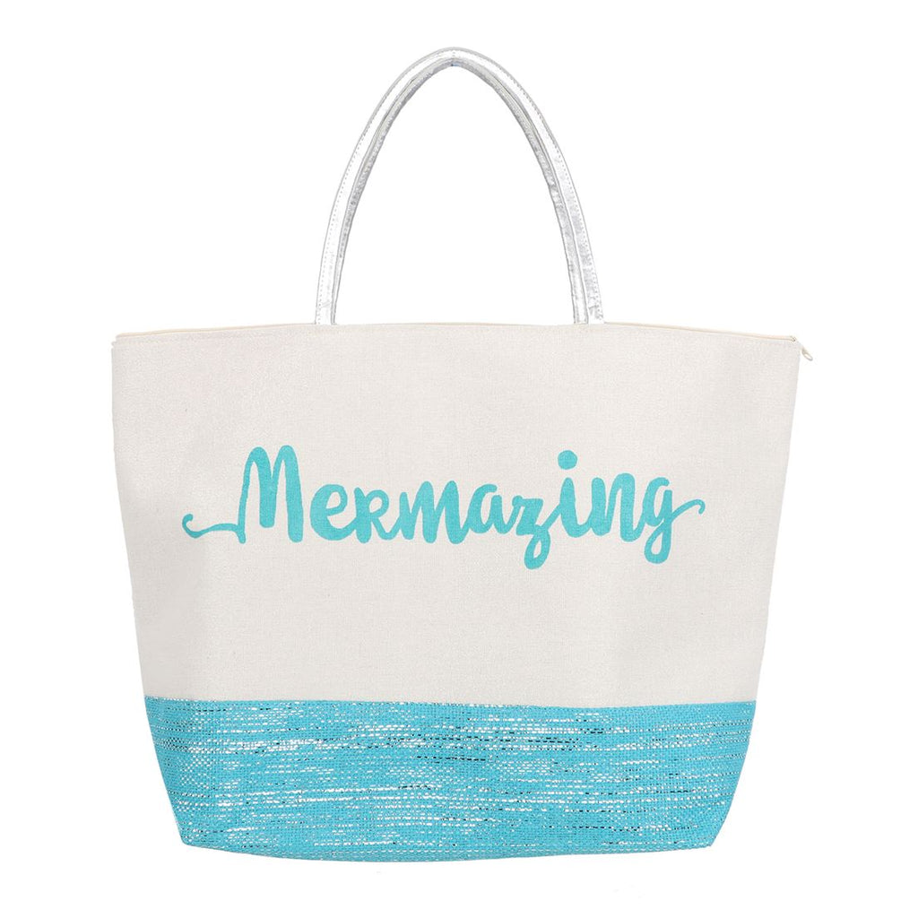Large Mermazing Mermaid Glitter Tote Bag