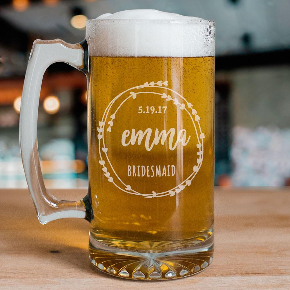 Personalized Bridal Party Beer Mug