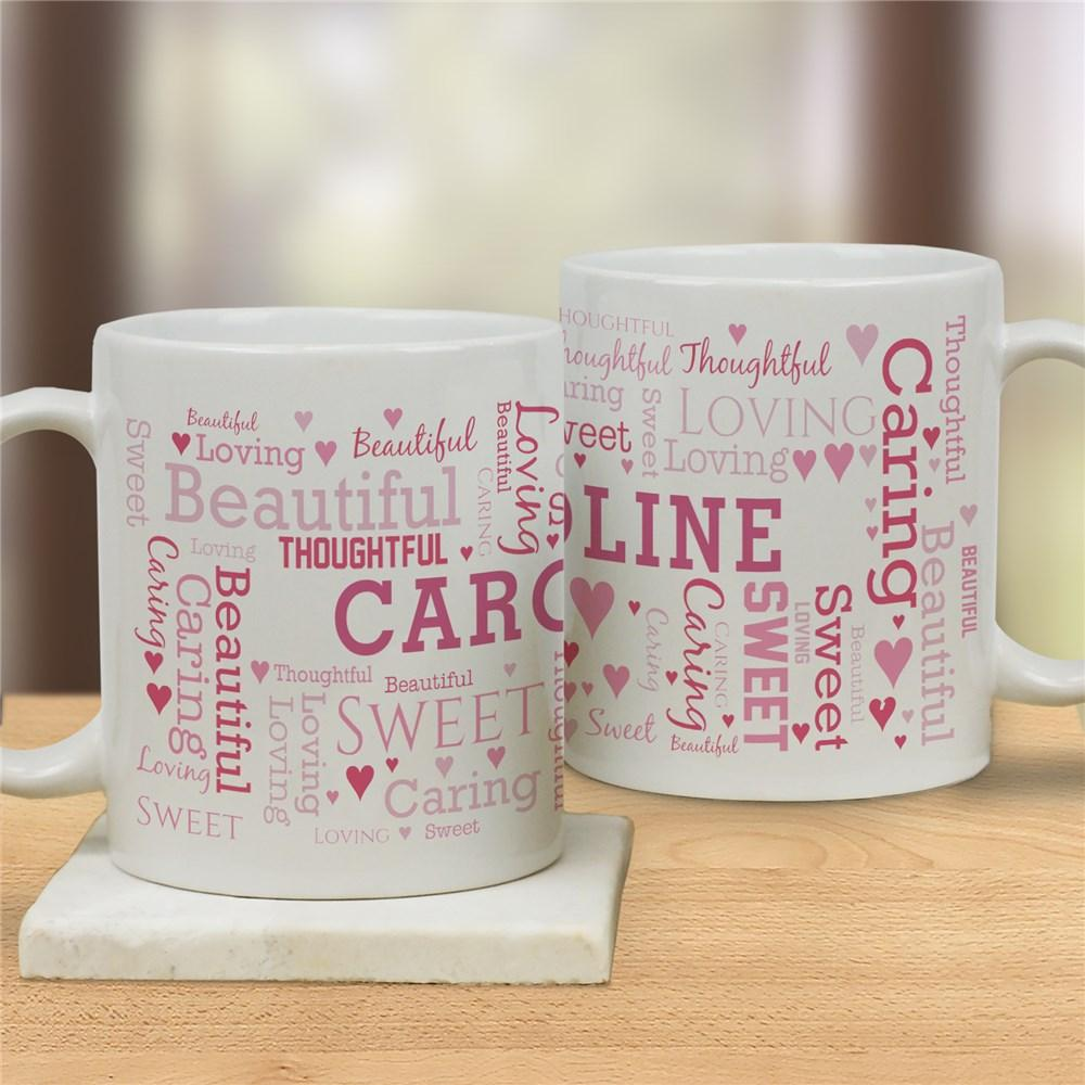 Personalized Word Art Love Coffee Mug - Valentine's Day Gift