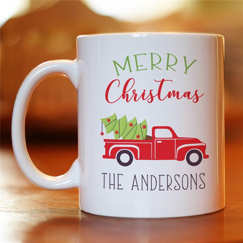 Personalized Merry Christmas Truck Mug