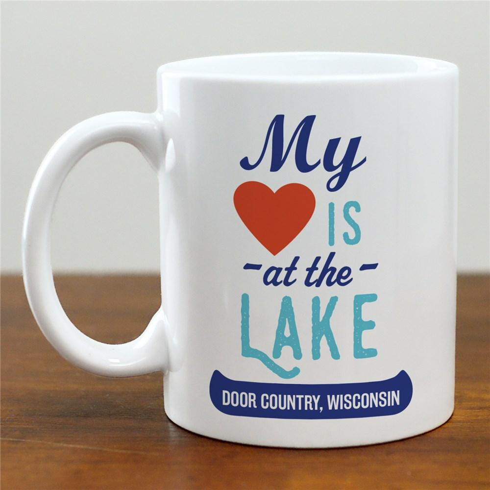 Personalized My Heart Is At The Lake Mug