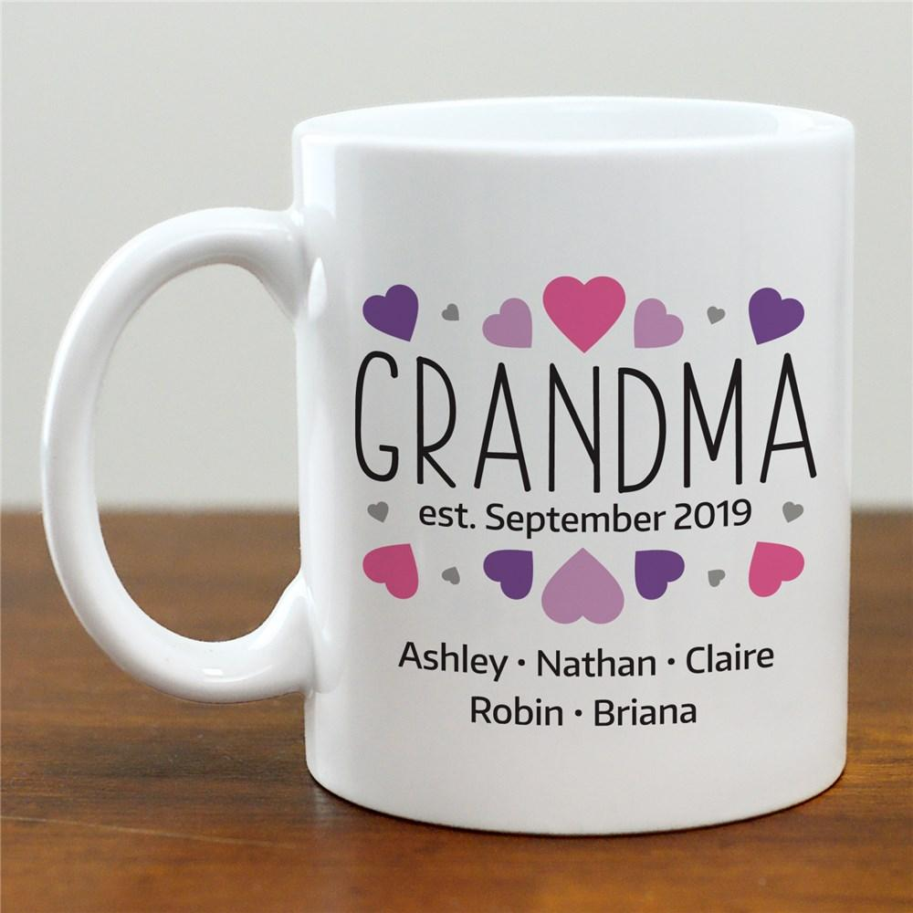 Personalized Grandma Hearts Mug