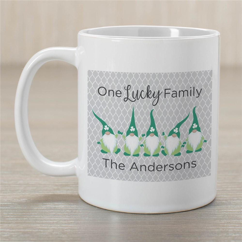 Personalized One Lucky Gnome Family Mug